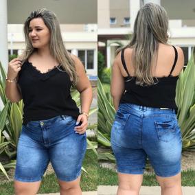 Bermuda Shorts Jeans Moda Plus Size Roupas Femininas Linda