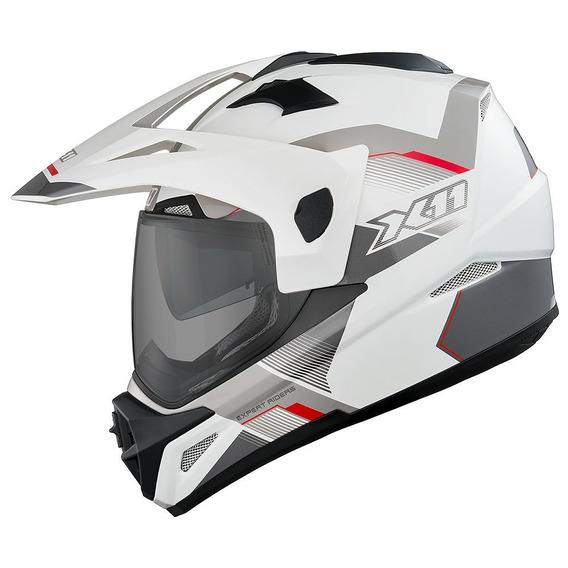 Capacete X11 Crossover X3-wsv Branco/vermelho/cinza