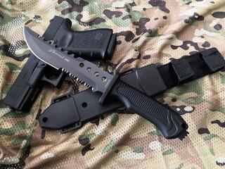 Cuchillo Tactico Militar Fzas Especiales Con Pedernal Funda