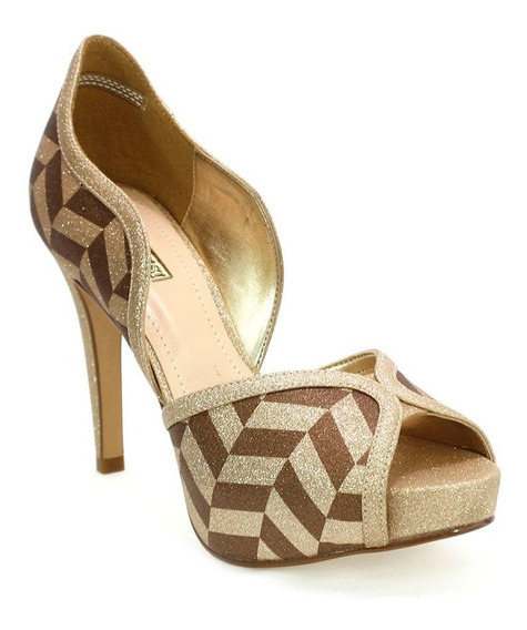 Sapato Feminino Peep Toe Pattern Champanhe Divalesi