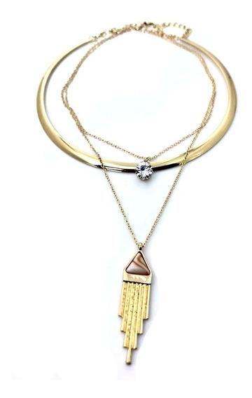 Hermoso Collar Triple Con Gargantilla Lf22009