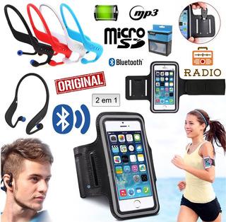Fone Ouvido Sem Fio Sport Bluetooth Fm + Braçadeira Celular