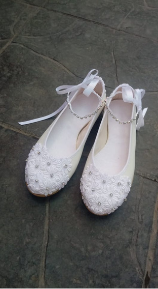 Zapatos Novia Chatitas Casamiento Comunion Fiesta Strass