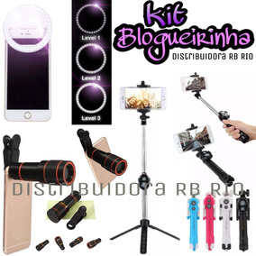 Kit Blogueirinha Ringselfie+ Luneta+ Pau De Selfie Controle