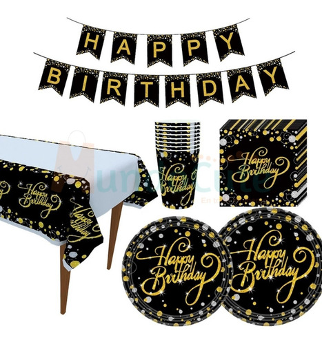 Imagen 1 de 4 de Kit Decoración Para Fiesta Cumpleaños Dorado Celebración