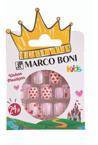 Kit Unhas Postiças Infantil Com 24 Un Autocolante Princesa