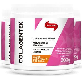 Kit 3 Colagentek Vitafor Colágeno Hidrolisado - Laranja 300g
