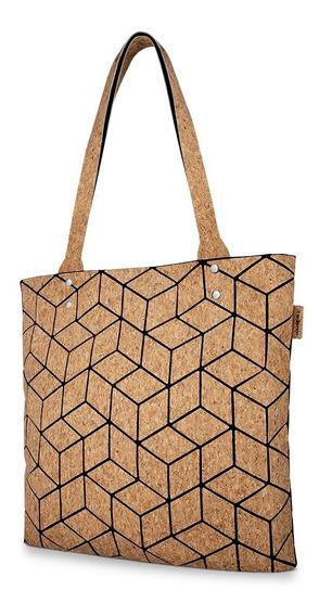 Redlemon Bolsa Mujer Corcho Diseño Geométrico Cierre Oculto
