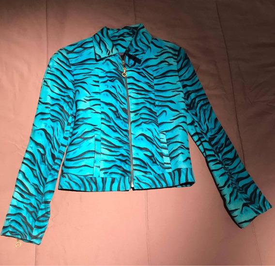 Campera/chaqueta Versace Original Turquesa Atigrada