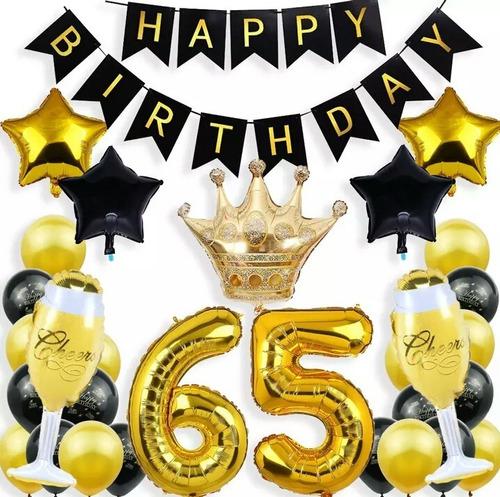 Kit Decoración 65 Años Cumpleaños Globos Metal Corona Fiesta
