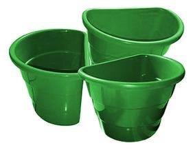 Kit 40 Vasos Plásticos Verdes Arandela Jardim Vertical