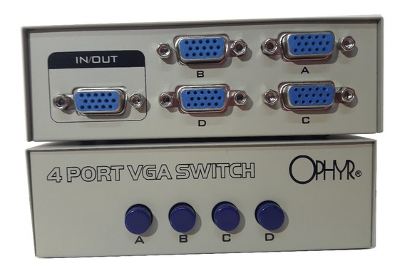 Switch Selector Vga Ophyr 4 Entradas 1 Salida