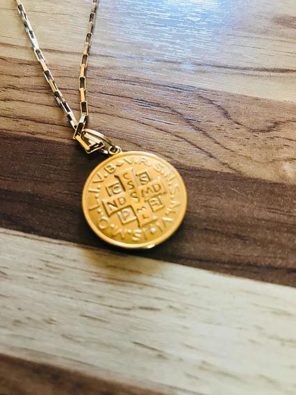 Corrente Cartier Ouro 18kl 750 Com Medalha São Bento 6,7g