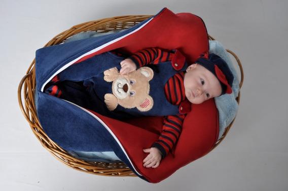 Kit Saída Maternidade Menino Azul Com Saco De Dormir