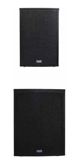 Kit C/ Caixa Ativa Mark Audio Af12 + Subwoffer Ativo Pa