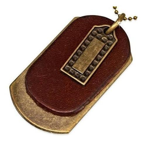 Collar De Piel Vintage Placas Militares