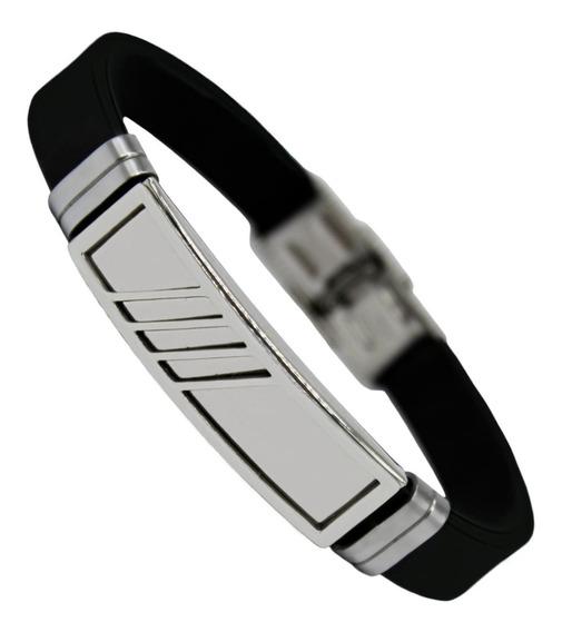 Pulseira Bracelete Masculino Silicone Luxo Aço Inox