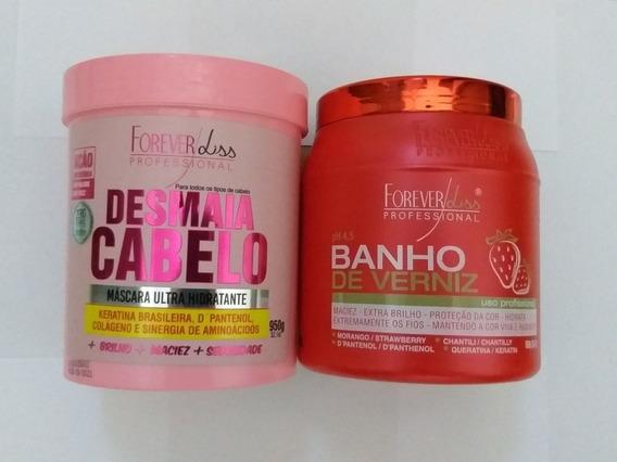 Banho De Verniz Morango 1kg + Desmaia Cabelo 950g (máscara)