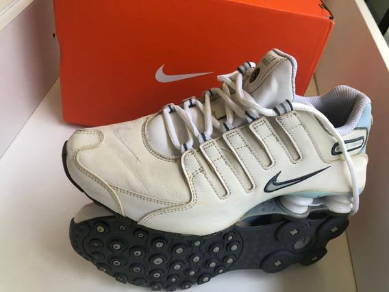 Tênis Nike Shox Original Número 36,5 Azul Claro E Branco