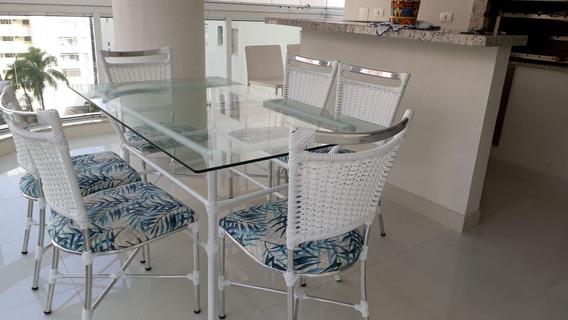 Mesa Com Tampo De Vidro E 6 Cadeiras Estama Floral