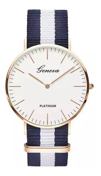 Relógio Feminino Prata Geneva Branco Analógico Redondo Luxo