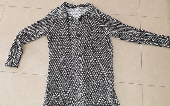 Sweater Cardigan Larga Marron Y Blanco Talle Large Suave