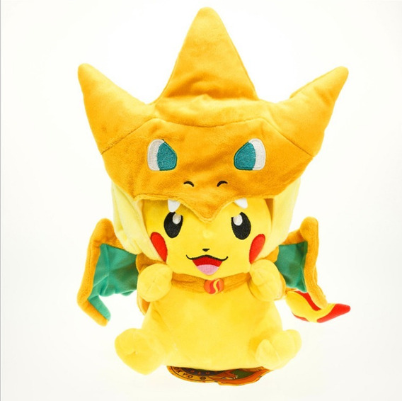 Pelúcia Pokemon Pikachu Mega Charizard Y - Cosplay 22cm