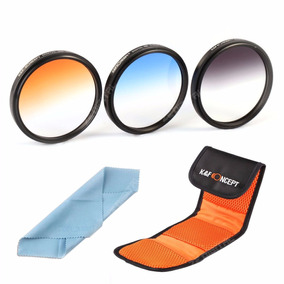 52mm Kit 3 Filtros Coloridos Color Canon E Nikon Em Hd