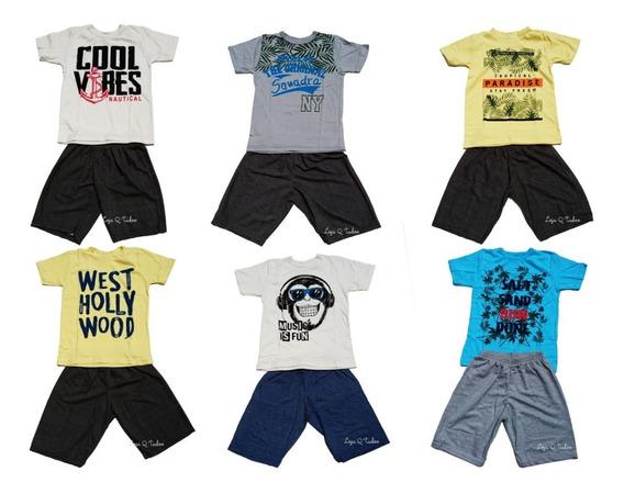 Kit 3 Conjunto Infanto Juvenil Roupa Menino Camiseta Shorts