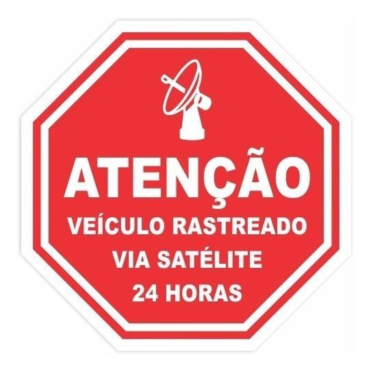 Adesivo Veículo Rastreado Por Satélite 8x8cm | 6 Unidades