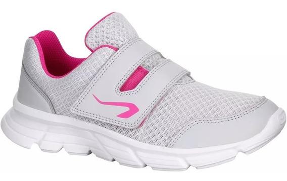Zapatillas Atletismo Niñas Grises Y Rosas