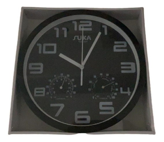 Reloj De Pared A Pila Negro Oferta Temperatura Humedad