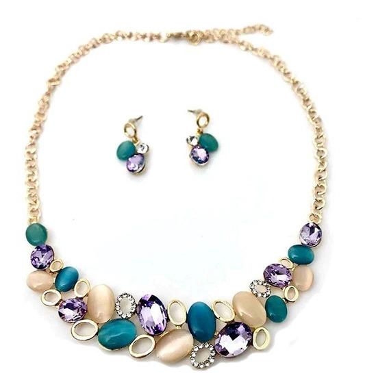 Hermoso Collar Con Con Cristales De Colores Lf22006