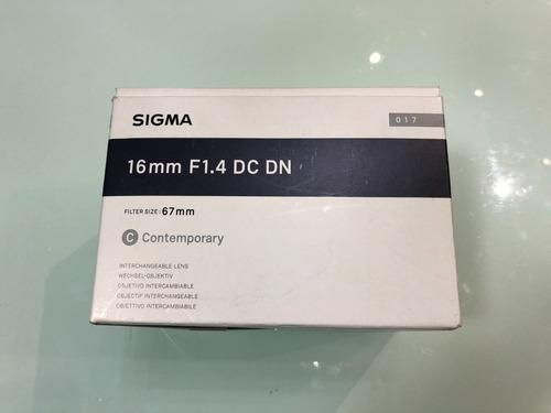 Imagem 1 de 5 de Sigma 16mm F/1.4 (novo) Sony Dc Dn E-mount Sony Envio Rapido