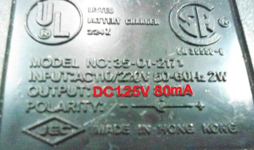 Transformador Cargador De 1,25 Voltios 80ma = 1 Bateria Aaa