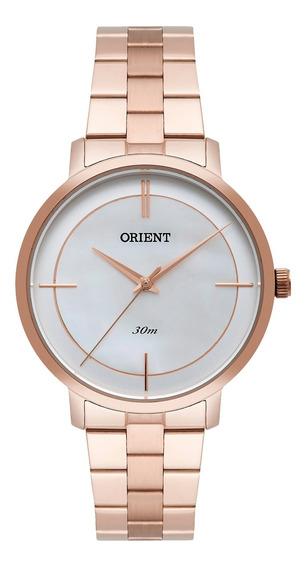Relógio Orient Feminino Frss0029 B1rx Dourado Rosê -refinado