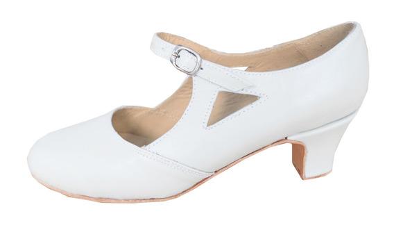 Zapato De Español Blanco - Folklore - Tango - Jazz - Cuero