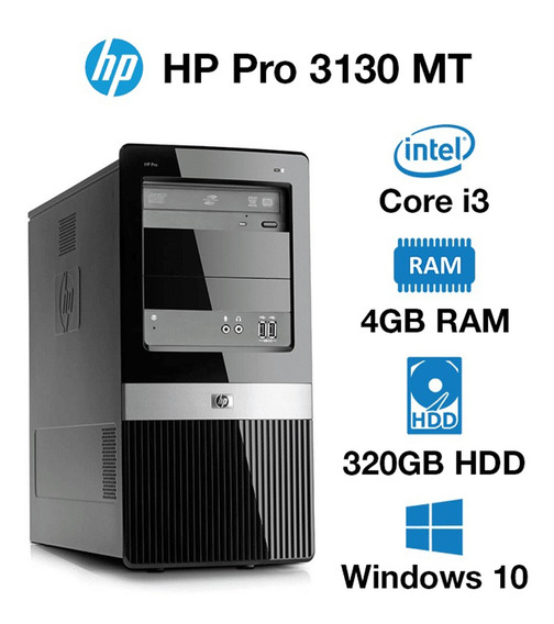 Desktop Hp 3130 Mt Pro Core I3 4gb 320gb Windows 10 Seminovo