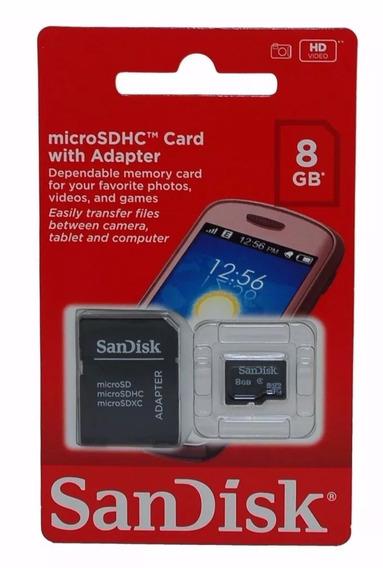 Cartão De Memória Micro Sd Sandisk 8 Gb + Adaptador