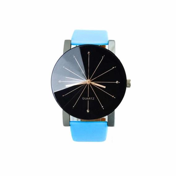 Relógio Quartz Social Pulseira Couro Azul Luxo
