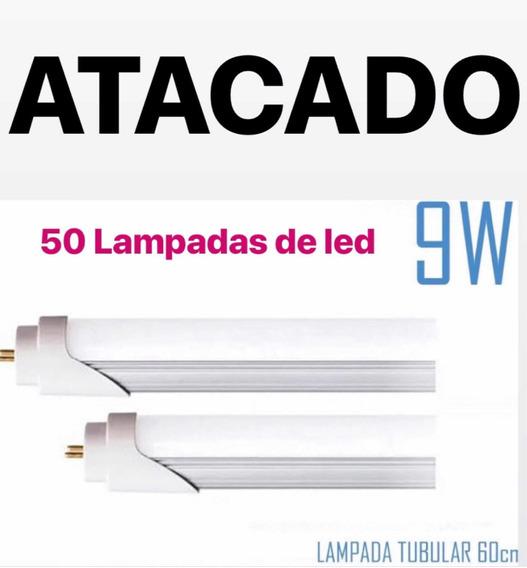 Kit 50 Lampadas De Led Tubular 9w 60cm.