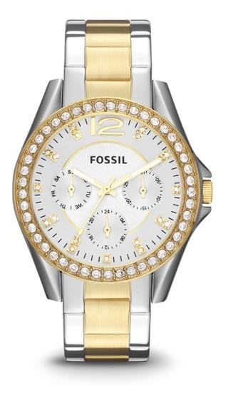 Reloj Dama Fossil Es3204 Color Combinado De Acero Inoxidable