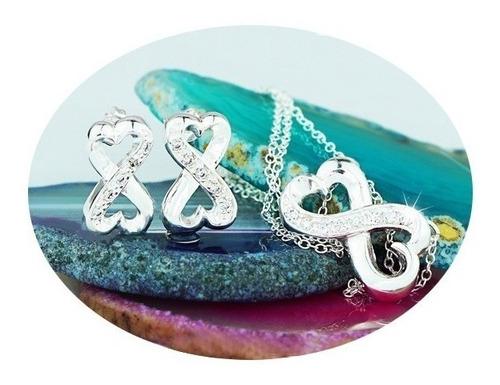 Imagen 1 de 5 de Set Collar Aretes Plata 925 Regalo Mujer Lujo Estilo Joyería
