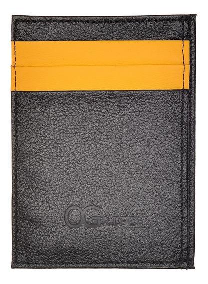 Porta Cartão Ogrife 100% Couro C-14 Dinheiro E Cartão Slim