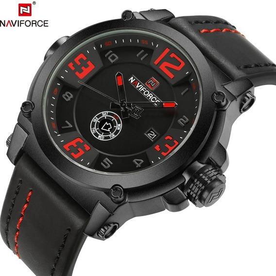 Relógio De Luxo Masculino Pulseira De Couro Naviforce 9099