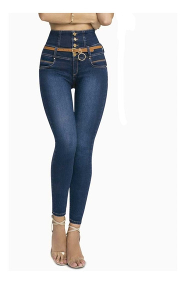Jeans Faja Cintura Costillero Levanta Cola Corte Colombiano