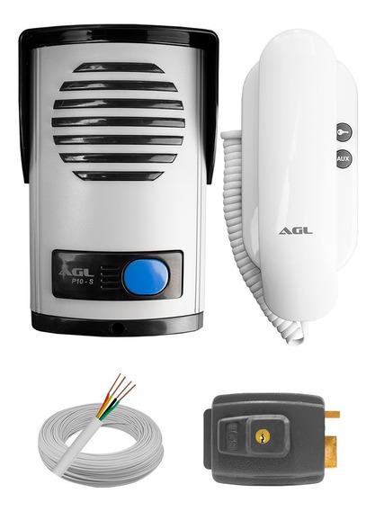 Kit Interfone Porteiro Eletrônico Ecp + Fechadura + Cabo