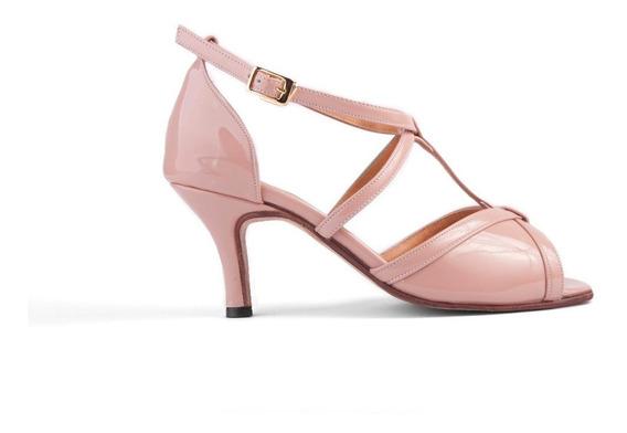 Zapatos De Baile, Tango, Salsa, Charol Nude