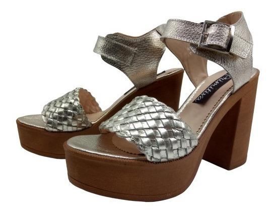 Sandalia Zapatos Mujer Cuero Trenzado Plataformas Taco 1269