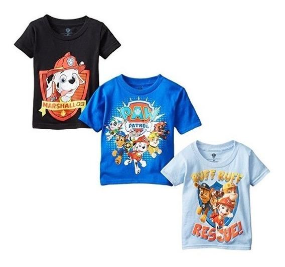 Nickelodeon Playeras Paw Patrol, Para Niños 3 Pzas 3t